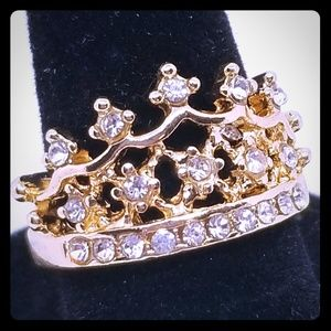 Jewelry - Gold Tone CROWN Princess Ring w/ Rhinestones 7, 9